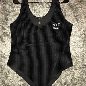 black velvet bodysuit ~ forever21 0X